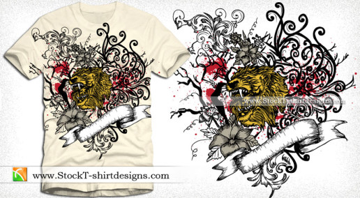 Vector T-shirt Graphics with Lion Head Ribbon and Floral