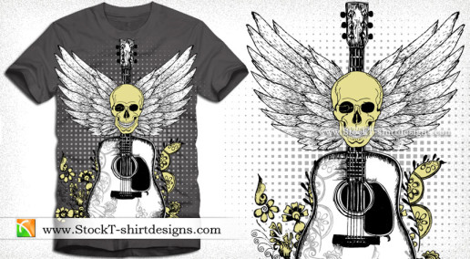 Vector T-shirt Design with Skull Guitar and Wings