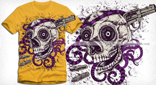 Horror Skull with Gun Vector Tee Design