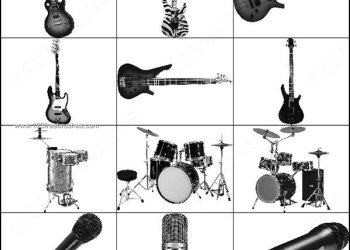 Musical Instruments – Drums – Guitar Photoshop Microphone Brushes
