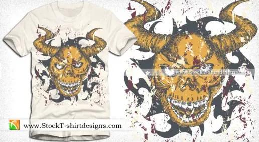 Vector Apparel T-shirt Design with Devil Skull