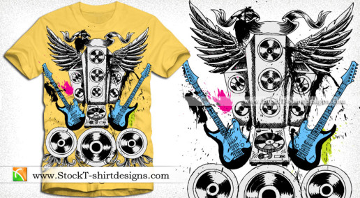 Vector T-shirt Illustration for Musical Theme with Speakers Guitar and Wings