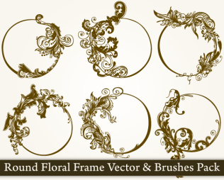Round Floral Frame Vector Pack