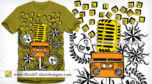 Vector Music T-shirt Design with Microphone and Cassette