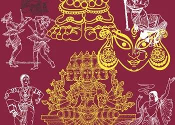 Indian Culture – Indian Religion Hindu Gods Krishna and Goddess Durga
