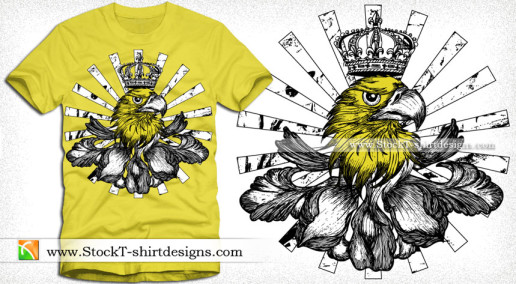 Vector T-shirt Design with Eagle Head crown and Sunburst