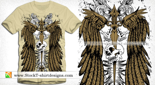 Vector Wings T-shirt Design with Skull and Sword
