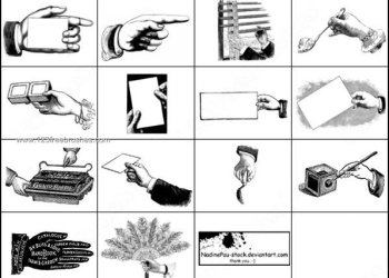 Hand Vintage Finger Pointing Brush