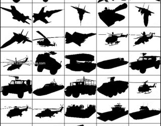 Photoshop Military Vehicle Silhouette Brushes