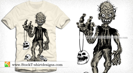 Demon Man with Skull Vector Graphics Tee Design