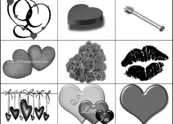 Valentines Day Brushes Hearts – Lips – Cupid?s Arrow
