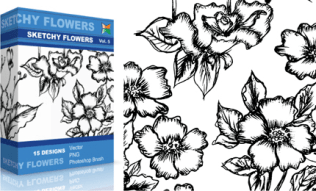 Sketchy Flowers Set.1 | Vol : 5
