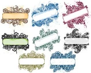 Floral Grunge Banner Vector Pack
