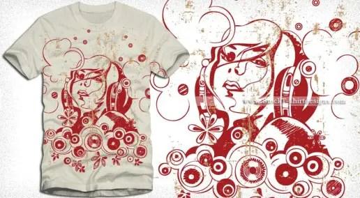 Beautiful Girl with Headphones Vector T-shirt Design