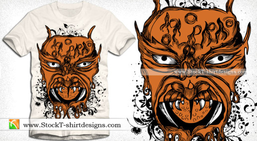 Demon T-shirt Designs with Floral