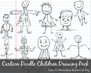 Scribble Series: Cartoon Doodle Children Drawing Vector Pack