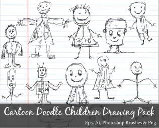 Scribble Series: Cartoon Doodle Children Drawing Vector Pack