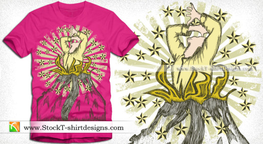 Vector Tee Graphics Design with Woman Star and Sunburst