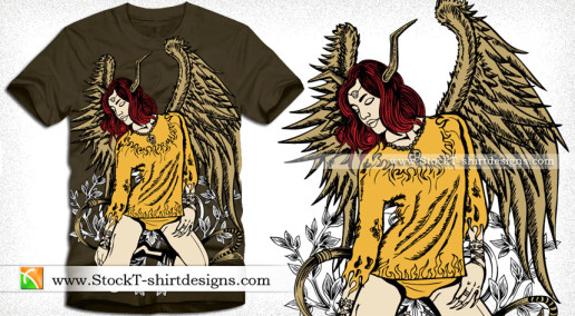 Beautiful Winged Woman Vector Tee Graphics Design