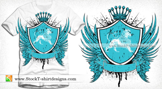 Heraldry Winged Shield with Lion Crest and Crown Vector Tee Design