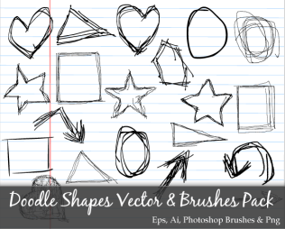 Scribble Series: Doodle Shapes Circle Square Star Triangle Heart Vector Pack
