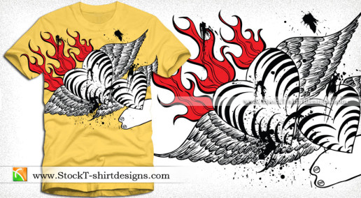 Winged Heart with Fire Flame Vector Art T-shirt Graphics Design