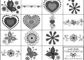 Decorative Valentine Heart and Flower Brushes Free Download