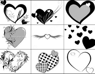 Brushes Heart with Wings Template