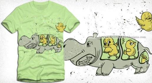 Cartoon Hippopotamus Vector T-shirt Design