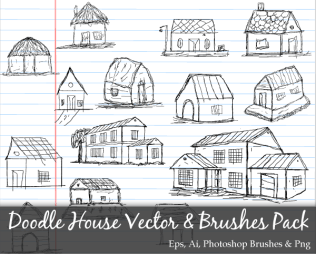Scribble Series: Doodle House Vector and Photoshop Brushes Pack