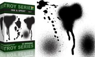 Grunge Destroyed Ink and Spray Vectors