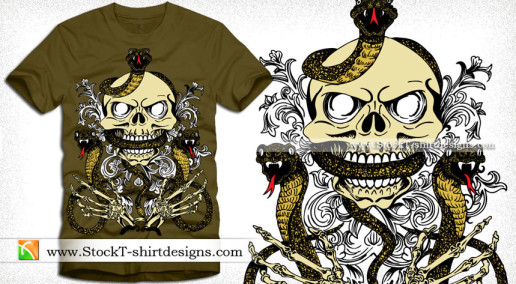 Vector Skull with Snake and Skeleton Hand T-shirt Design