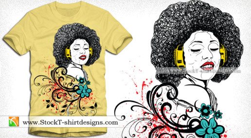 Vector Art T-shirt Design with Singing Girl and Swirl