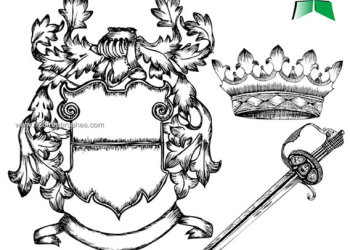 Coat of Arms Hand Drawn Heraldic  Lion Photoshop Brushes
