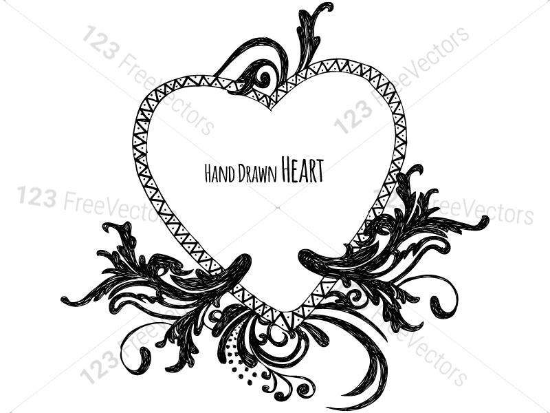 Hand Drawn Heart Vector And Photoshop Brush Pack 01