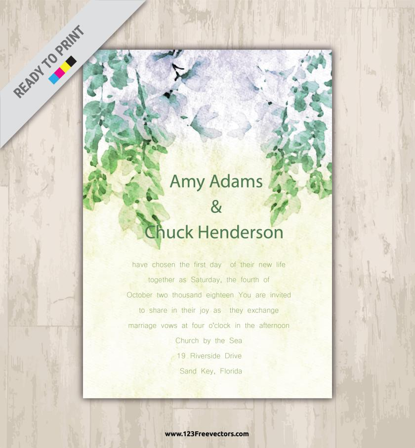 Wedding Invitation Vector Free Preview