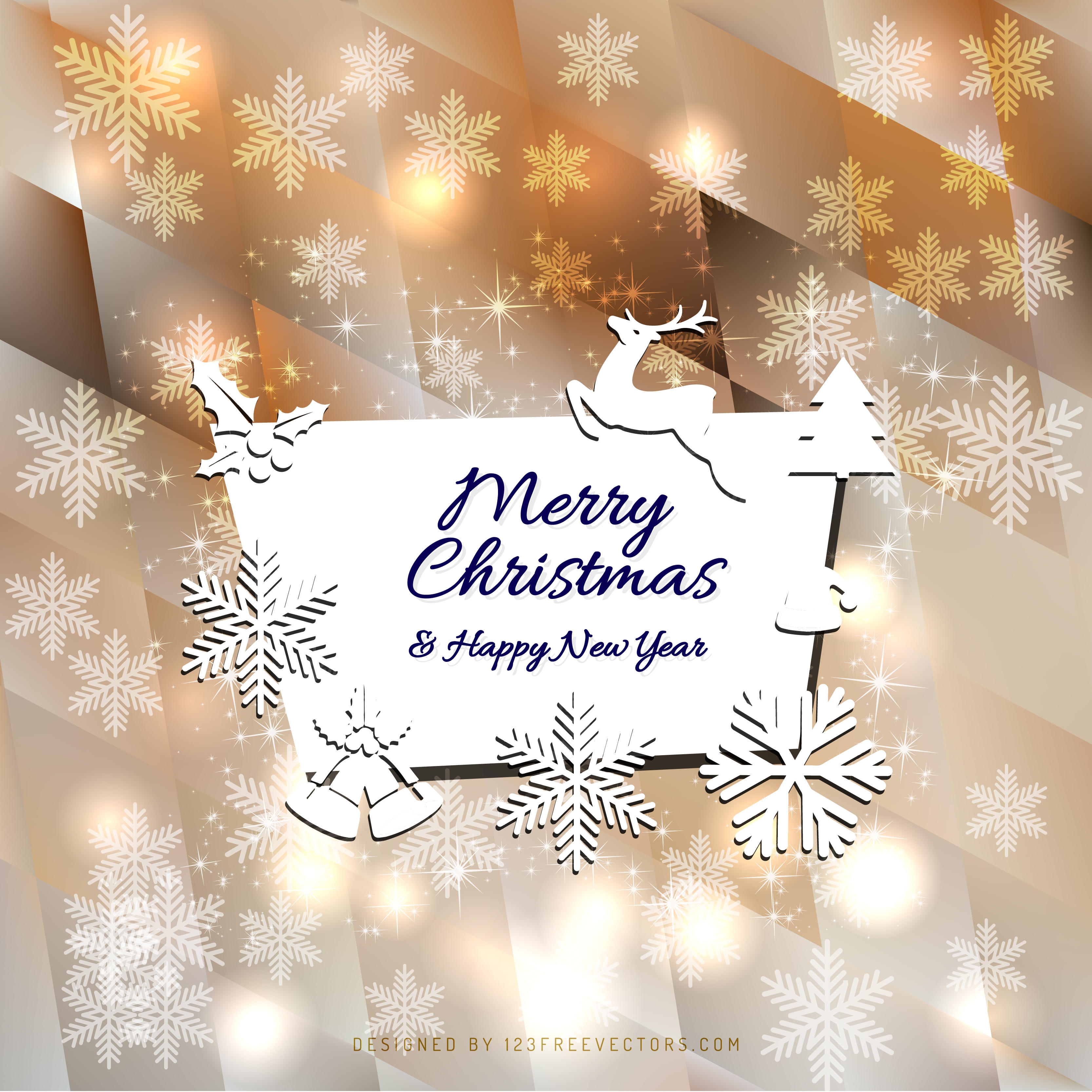 Merry Christmas and Happy New Year Card Background Template     Merry Christmas and Happy New Year Card Background Template   123Freevectors