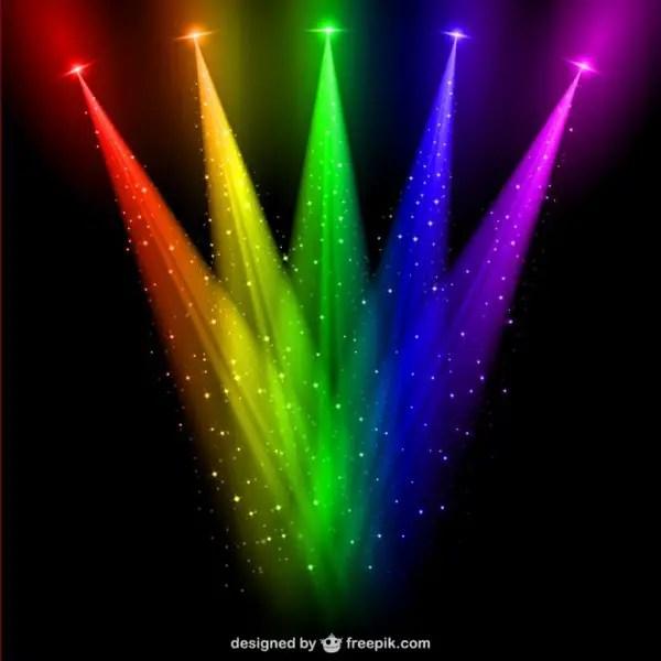 Colored Spotlights Free Vector