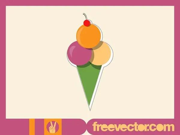 Ice Cream Sticker Free Vector