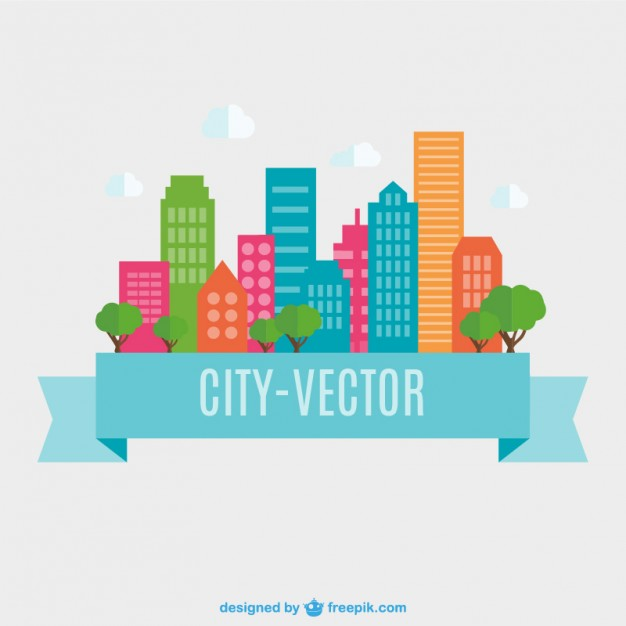 City Flat Design Free Vector