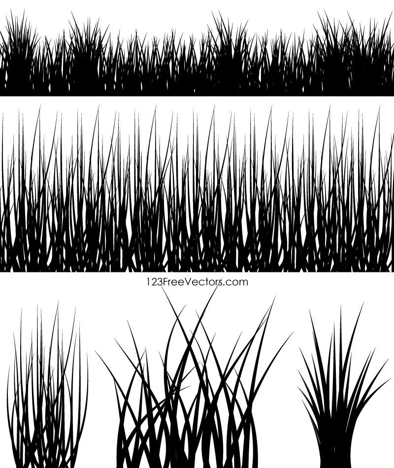 Silhouette Grass Vector on Simple Swirl Designs