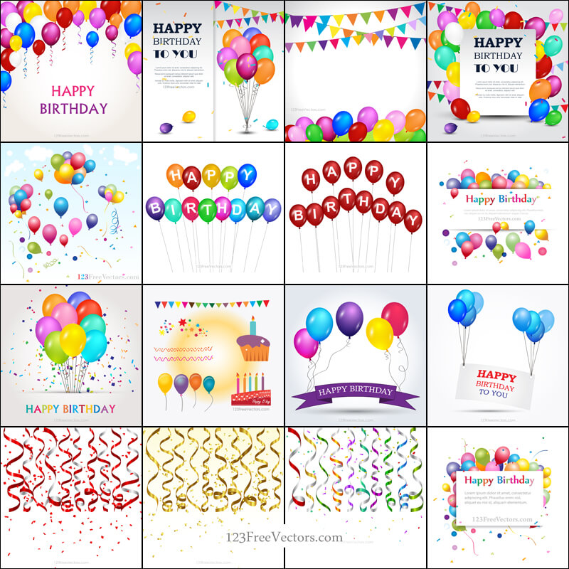 Happy Birthday Background Vector Pack