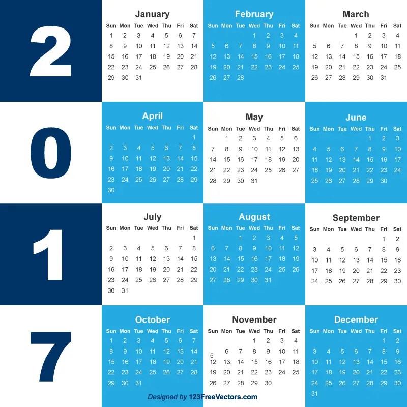 2017 Calendar Template Free Download 123freevectors