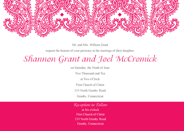 Paisley Wedding Invitation Template Vector