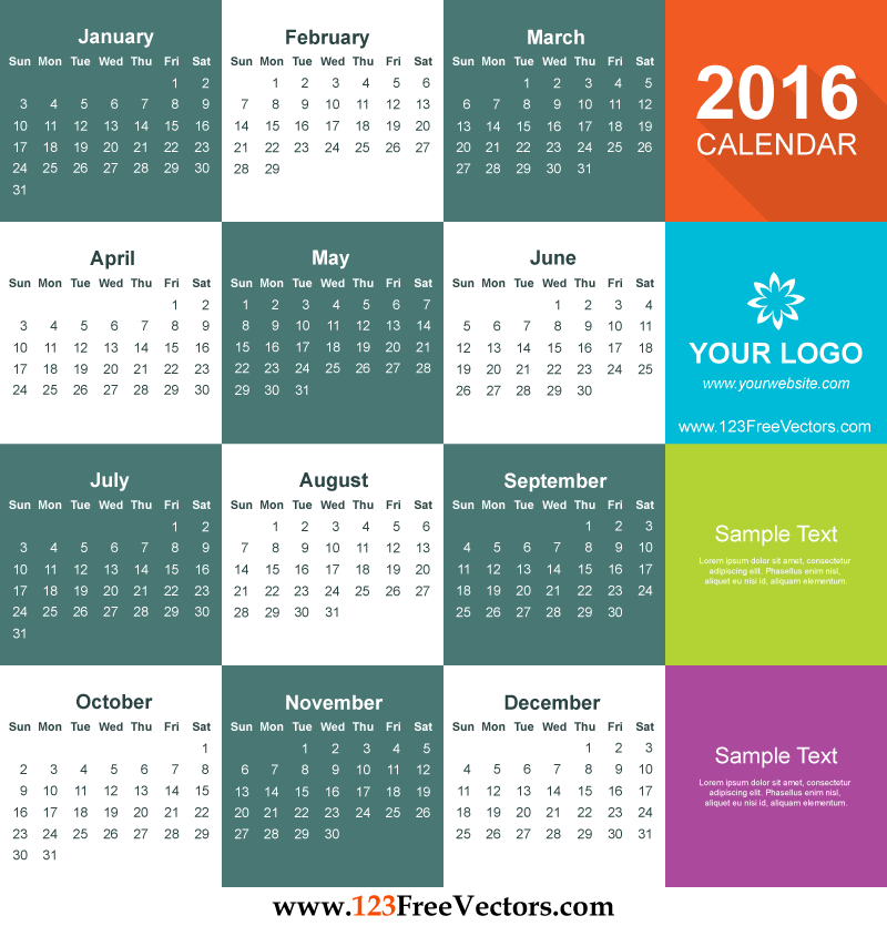 2016 Calendar Template Free Download 123freevectors