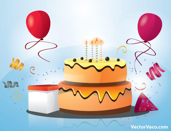Birthday Cake Images Vektor ~ Happy birthday cake with candles and balloons vector freevectors