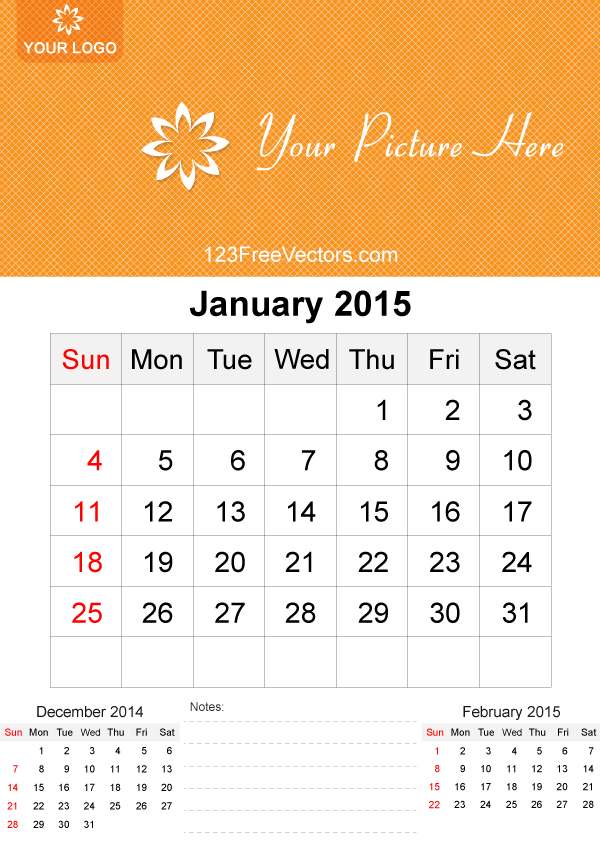 January 2015 Calendar Template Vector Free 123freevectors