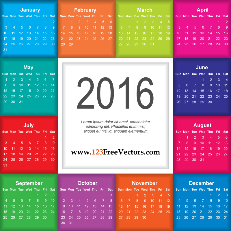 download calendar 2016 free 123freevectors