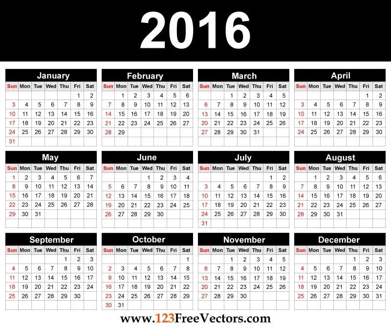 printable 2016 calendar template 123freevectors