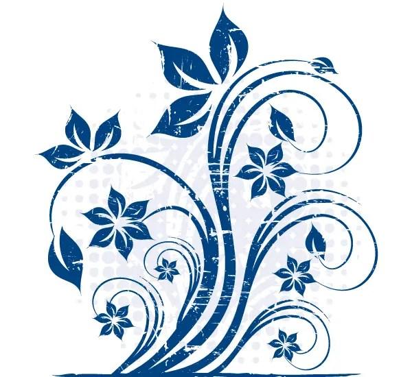 Grunge Blue Floral Vector Image